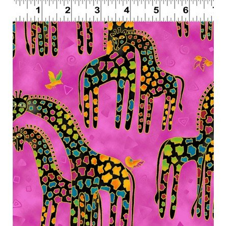 Raspberry Giraffe - Mythical Jungle Giraffes by Laurel Burch from Clothworks 100% Cotton Quilt Fabric Y2136-74M Raspberry