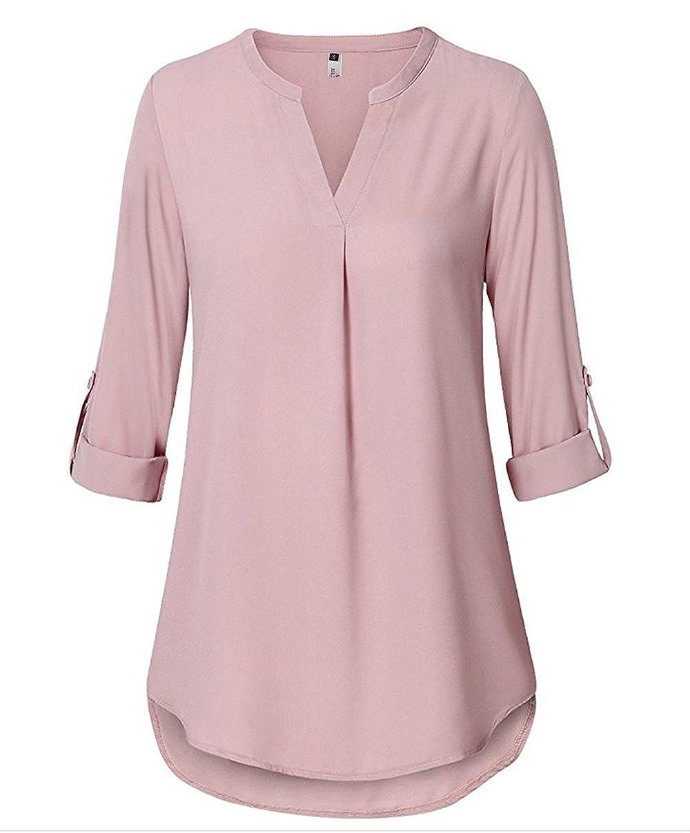 ELFIN Damen Große Größen Freizeit Lange Ärmel V-Ausschnitt Chiffon Bluse Locker Shirt Elegante Frauen Tunika Tops Oberteile B7062-DE