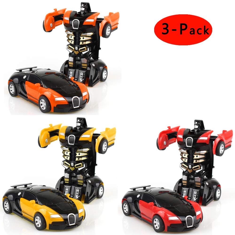 Cartoon Crash Deformation Transforming Robot Car Toy Kids Game Gift Electrical Safety (3pcs, Yellow&Red&Orange)