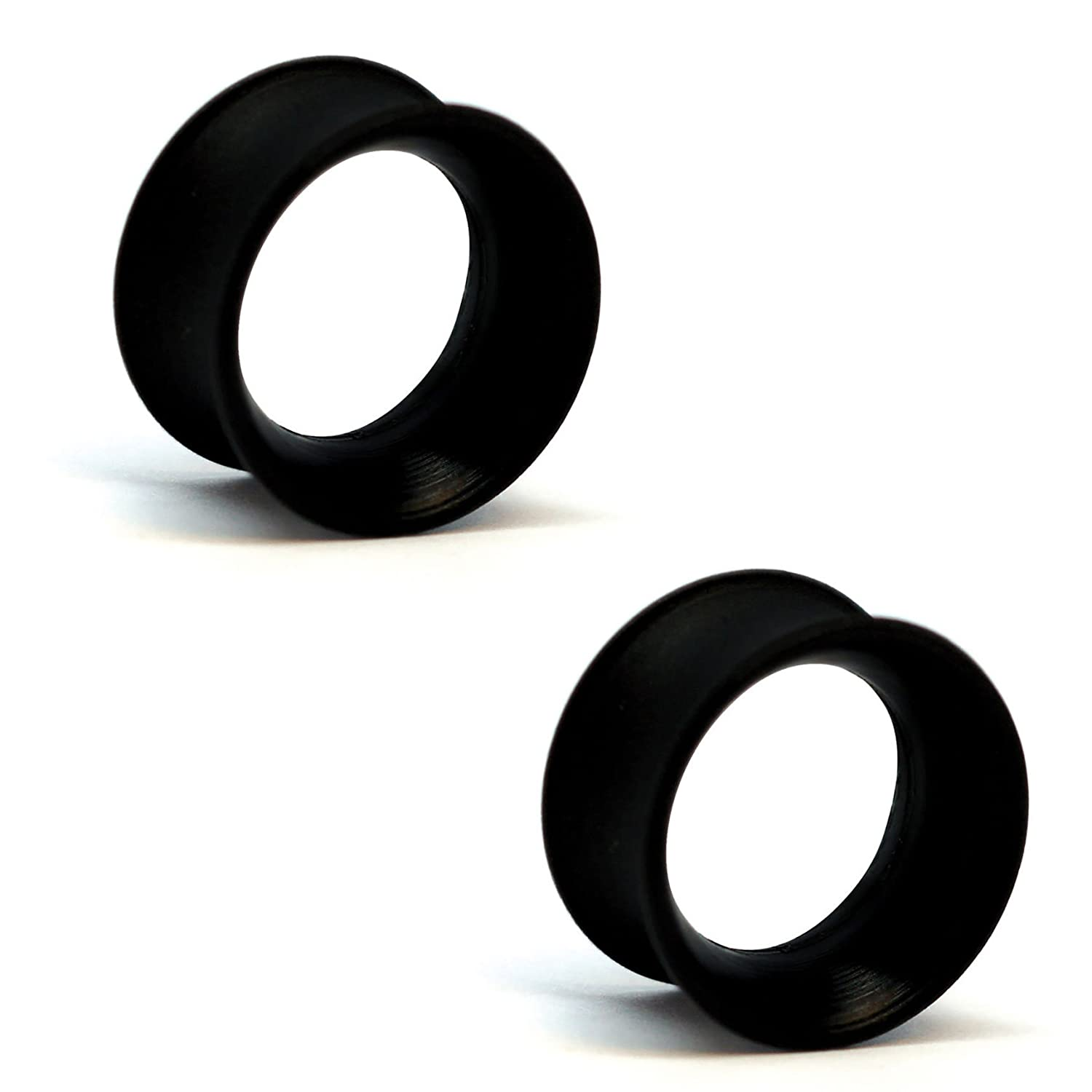 Pair of Silicone Double Flared Skin Eyelets: 00g, wearable length: 5/16