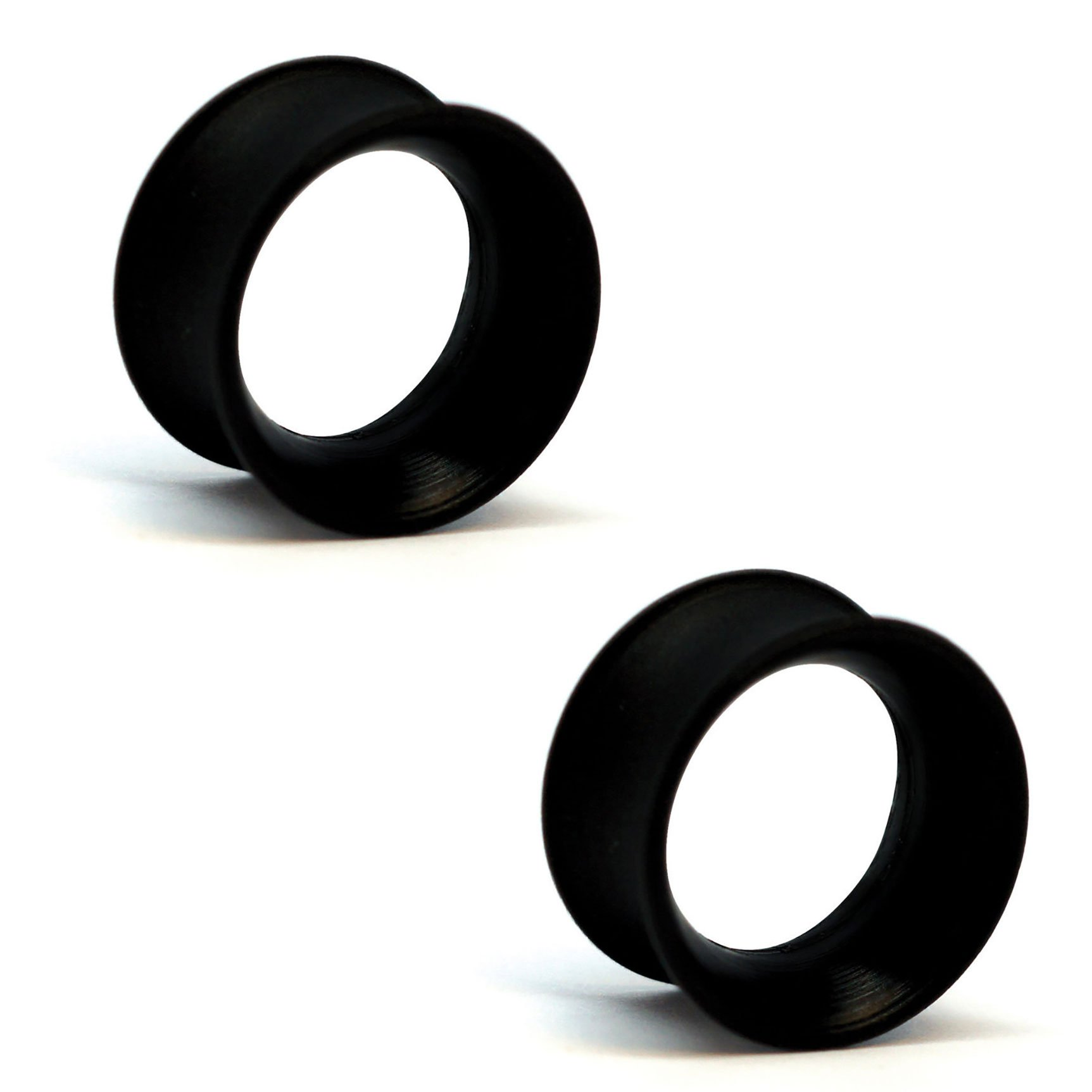 Pair of Silicone Double Flared Skin Eyelets: 9/16'', wearable length: 5/16'', Black