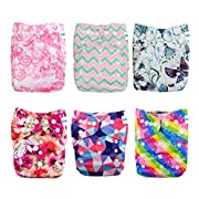 Babygoal Baby Cloth Diapers, Adjustable Reusable Pocket Diaper Pail 6pcs + 6 Inserts+One Wet Bag ,Girl color 6FG23