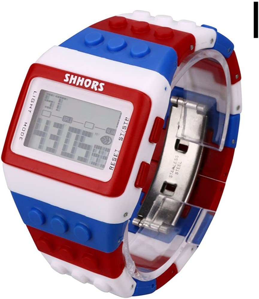 XBKPLO Unisex Digital Sports Watches Colorful Vintage Wrist LED Digital Display Outdoor Silicone Bracelet