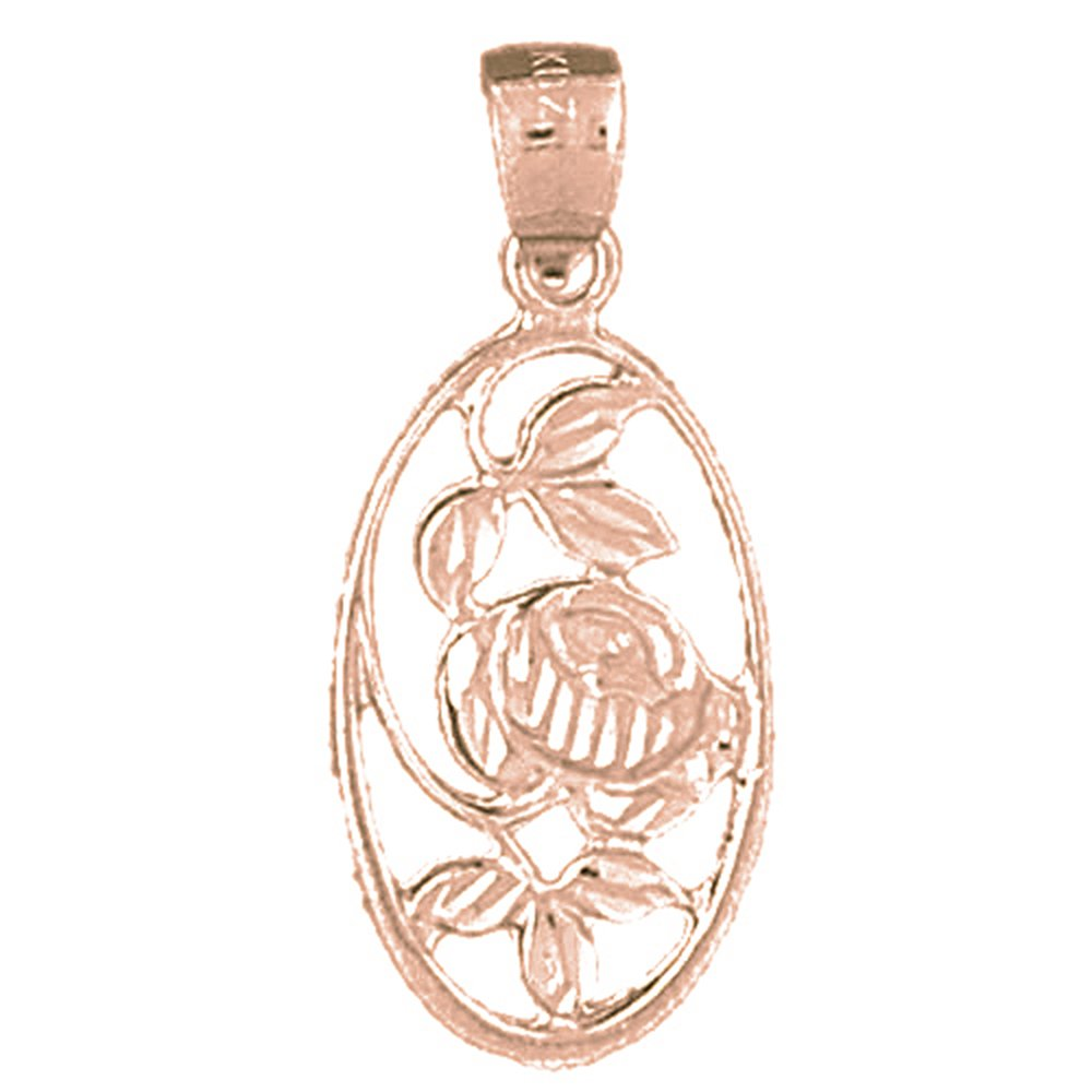 14K Rose Gold-plated 925 Silver Rose Flower Pendant with 18 Necklace Jewels Obsession Flower Necklace