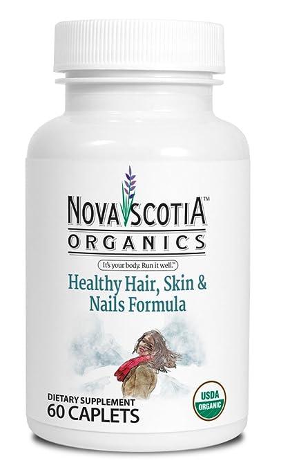 Amazon.com: Nova Scotia Organics Healthy Hair, Skin & Nails Formula (60 Caplets); Certified Organic; Vegan; Organic Bhringaraj, Guava, Acerola, ...