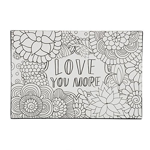 DCI Color Joy Love You More Art Block, Coloring Products, DIY Crafts, Flowers Pattern, Ready to Display on Wall or Shelf, 4 x 7 x .75 , Great for kids and adults alike