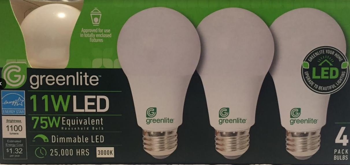 Greenlite 4 Pack 11W LED Bulb 75W Equivalent Dimmable A19 3000K Bright White