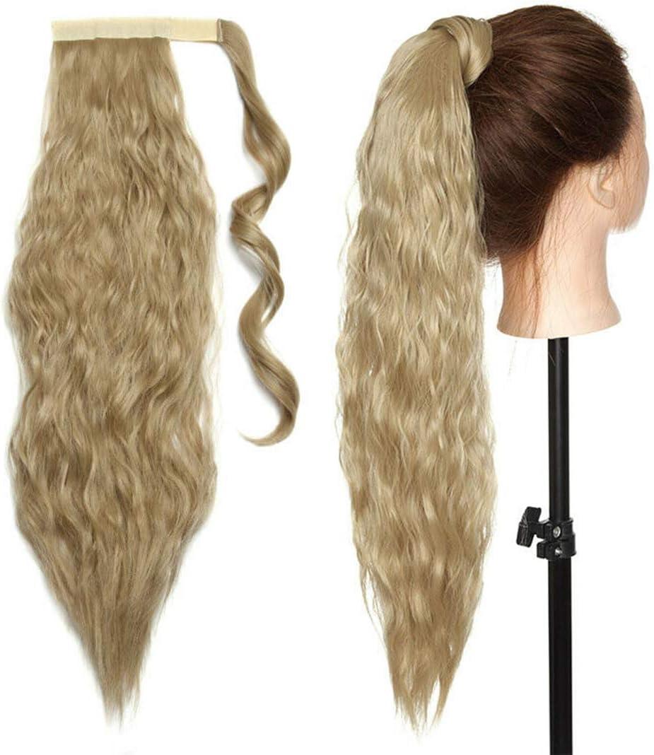 50cm Extensiones de clip de pelo natural ola de maíz cola de caballo Pasta Mágica ondulado Ponytail Hair Extension Pedazo de cabello Rubio ceniza