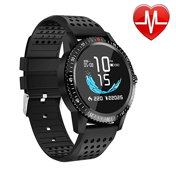 Fitness Tracker with Heart Rate Blood Pressure Monitor, Activity Tracker  Watch with Pedometer, Sleep Monitor, Round Face Smart Watch for Women, Men,