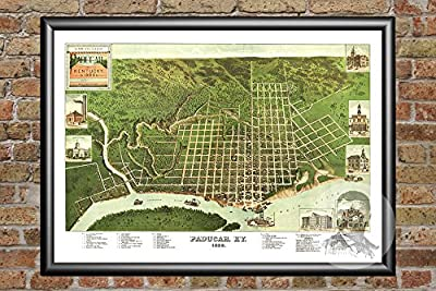 Ted's Vintage Art Paducah Kentucky 1889 Vintage Map Print | Historic McCracken County, KY Art | Digitally Restored On Museum Quality Matte Paper