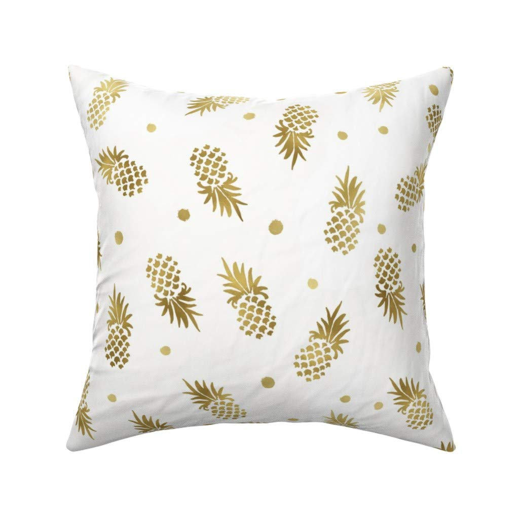 Amazon.com: Roostery Throw Pillow, Gold Pineapples Dots Food ...