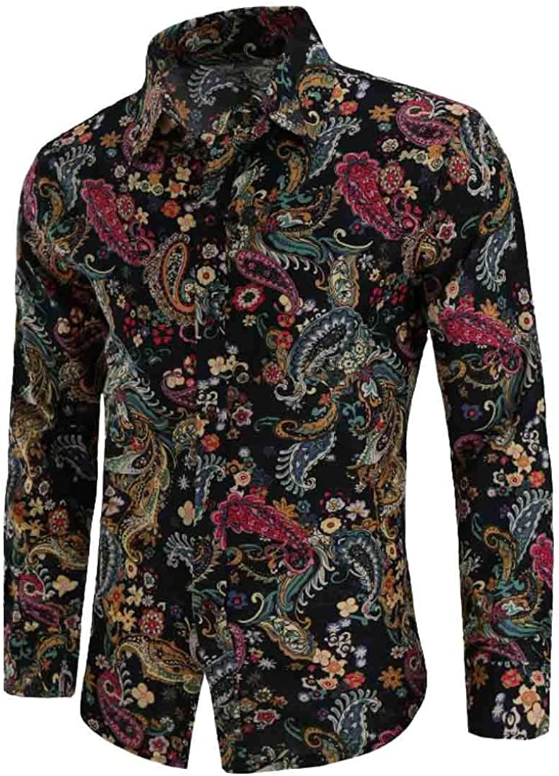 Sweatwater Mens Printed Lapel Neck Casual Long Sleeve Curved Hem Button Down Shirts