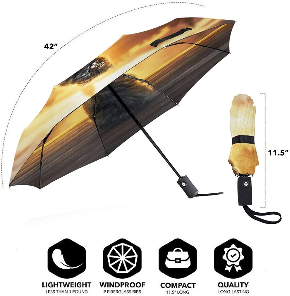 Cat Fluffy Sunlight Glance Wallpaper Compact Travel Umbrella Windproof Reinforced Canopy 8 Ribs Umbrella Auto Open And Close Button Customized