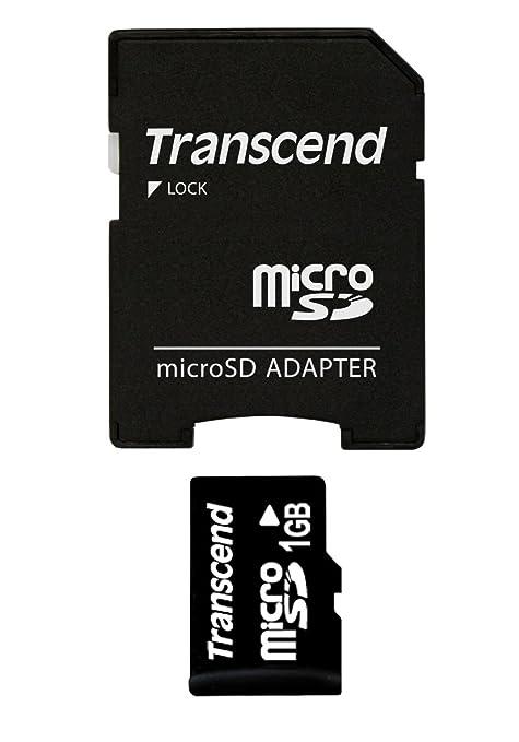Transcend TS1GUSD - Tarjeta de Memoria Micro SD de 1 GB con 1 Adaptador