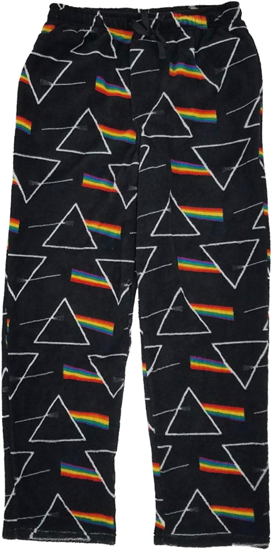 Pink Floyd Mens Black Fleece Light Prism Sleep Pants Pajama Bottoms XL