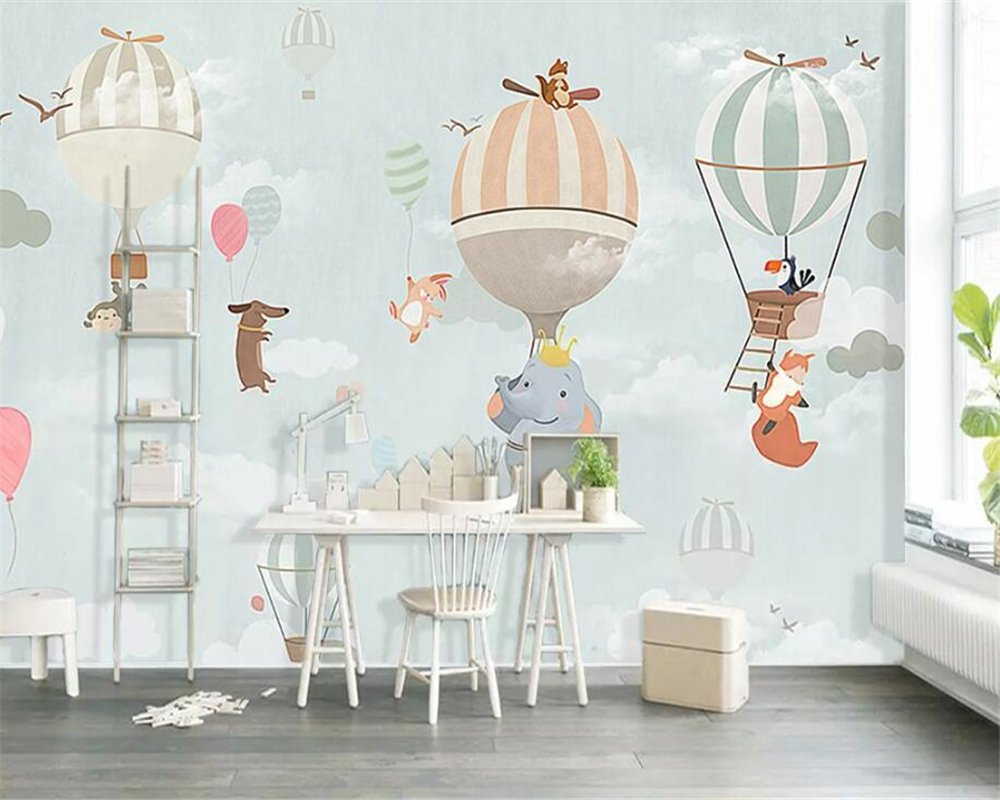 BZDHWWH Custom Wallpaper Cartoon Animal Hot Air Balloon Panorama Theme Children Room Background Wall Papel De Parede Wallpaper,50Cm (H) X 70Cm (W)