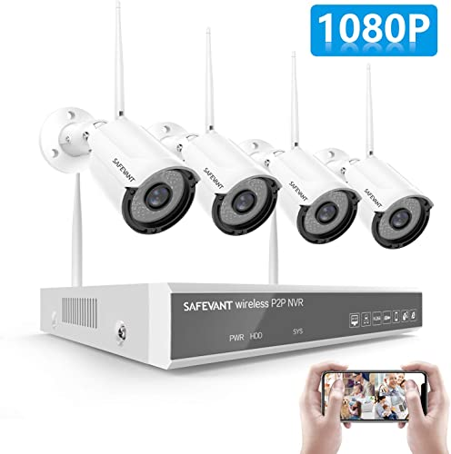 2020 New 1080P Full HD Security Camera System Wireless,SAFEVANT 8 Channel NVR Systems with 4pcs Indoor Outdoor 2MP Home Surveillance Cameras with Night Vision Motion Detection