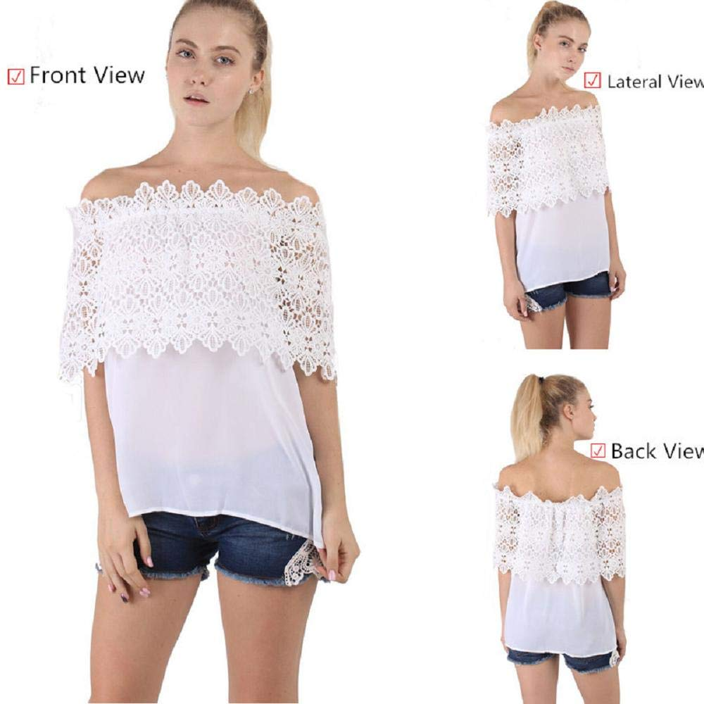 ZZpioneer Women's Summer Lace Crochet Chiffon Shirt Casual Off Shoulder Short Sleeve Tops Tees(M,White) by ZZpioneer (Image #4)