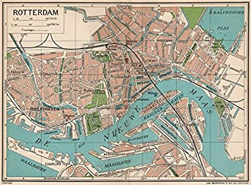 ROTTERDAM. Vintage town city map plan. Netherlands - 1933 ...
