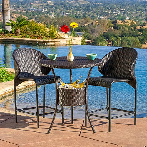 Patio Wicker Round Bar Table with Built-in Ice Pail (Table Only, Barstools Sold Separately) by Oyster Bay