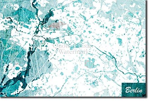 Introspective Chameleon Berlin, Germany Original Map Design Blue Stroke - Art Print Poster Photo Gift - Size: 15 x 10 Inches (38 x 25 cm)