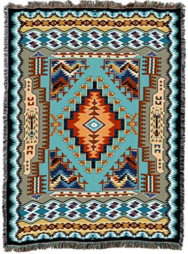 Pure Country Weavers | Painted Hills Sky Southwest Blanket | Woven Throw with Fringe Cotton USA 72x54