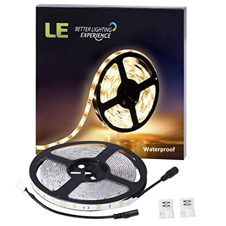 Amazon le waterproof 12v flexible led strip lights 3000k warm le waterproof 12v flexible led strip lights 3000k warm white 150 units smd 5050 aloadofball