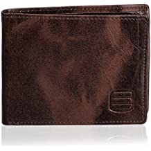 Suvelle Men's Slim Genuine Leather Bifold Removable Flipout ID Window Passcase Wallet Extra Capacity W031