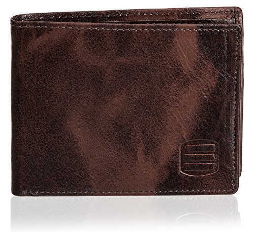 Mens Two Fold Wallet (Suvelle Men's Slim Genuine Leather Bifold Wallet Removable Flipout ID Window Passcase Multi Card Extra Capacity Travel Wallets Stylish Gift For Men W031)