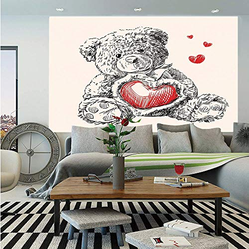 (Doodle Huge Photo Wall Mural,Detailed Teddy Bear Drawing with Heart Instead of a Belly Mini Floating Hearts Decorative,Self-adhesive Large Wallpaper for Home Decor 100x144 inches,Red Black White)