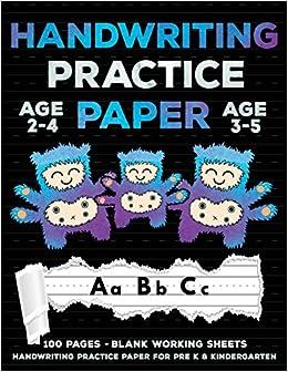 Handwriting Practice Paper Cute Monsters Handwriting Workbook For