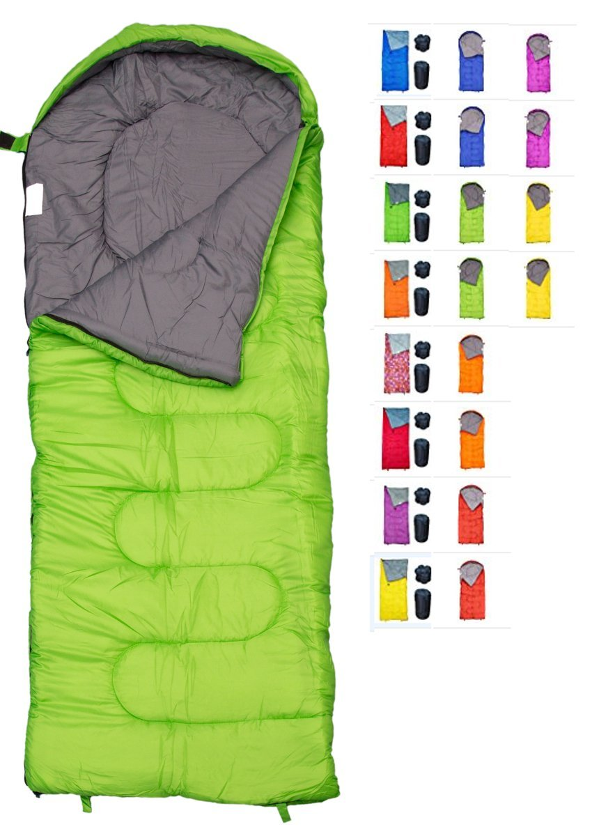 REVALCAMP Sleeping Bag for Cold Weather - 4 Season Envelope Shape Bags by Great for Kids, Teens & Adults. Warm and Lightweight - Perfect for Hiking, Backpacking & Camping (Green - Envelope Right Zip) by REVALCAMP