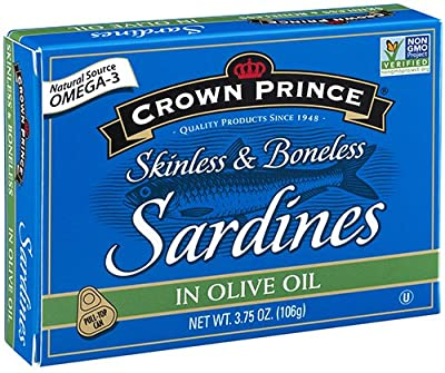Crown Prince Skinless & Boneless Sardines in Olive Oil, 3.75-Ounce Cans (Pack of 12)