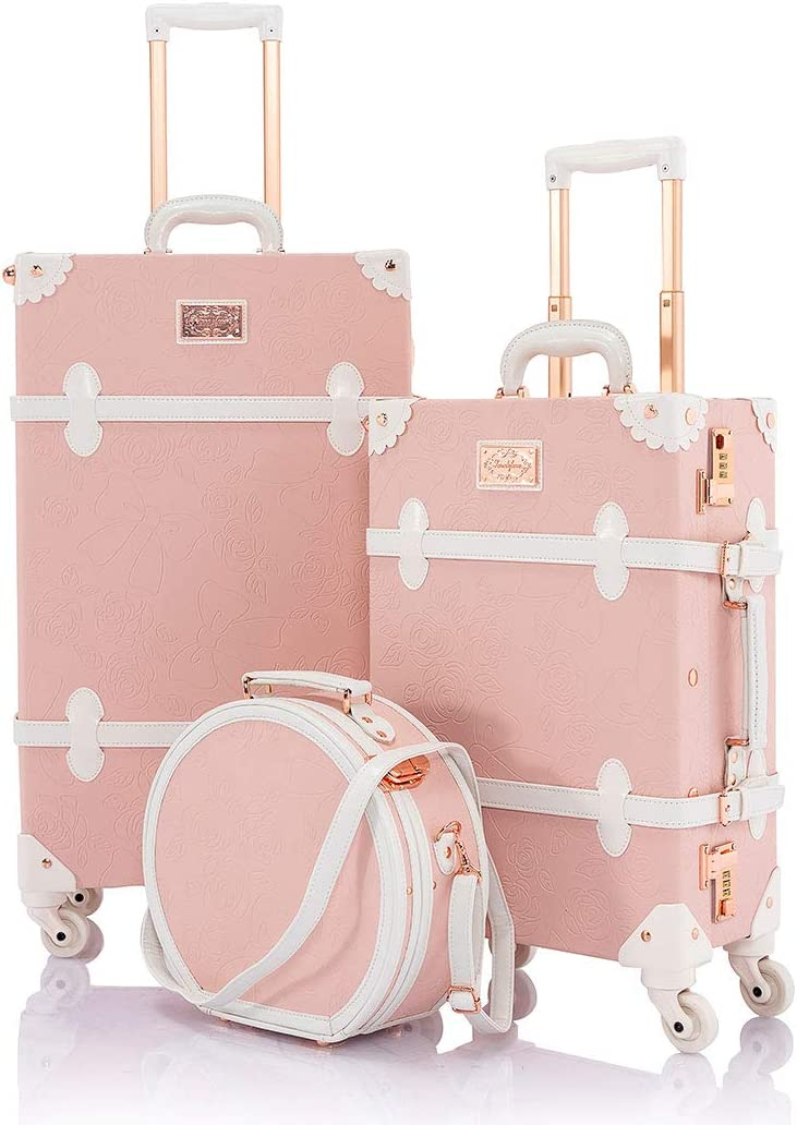 COTRUNKAGE Cute Women 20 Luggage Set 3 Pieces 26 Vintage Trunk Suitcase with Small Hat Box, Embossed Pink