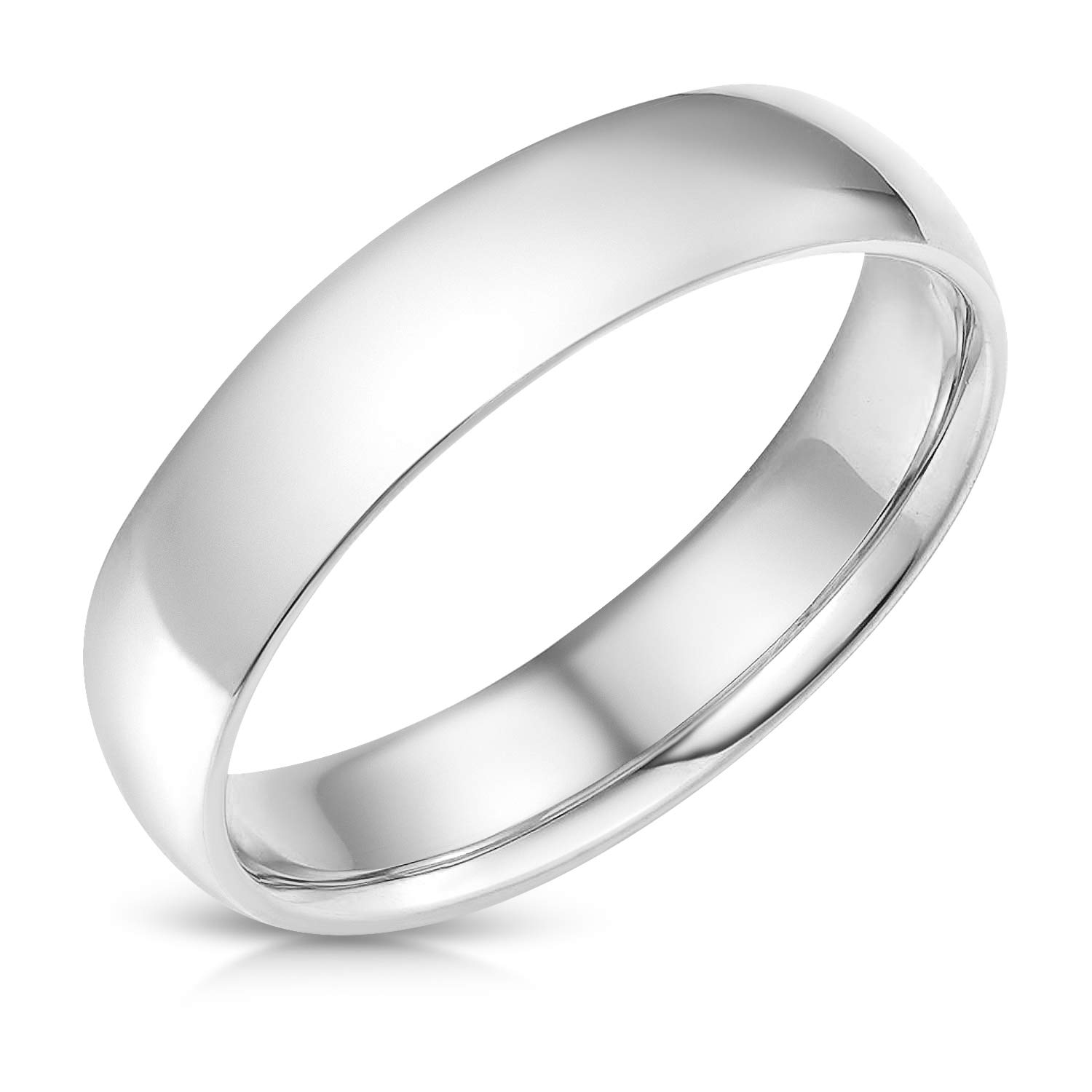 Ioka - 14k Solid White Gold 5mm Plain Comfort Fit Wedding Band - size 8 by Ioka (Image #2)