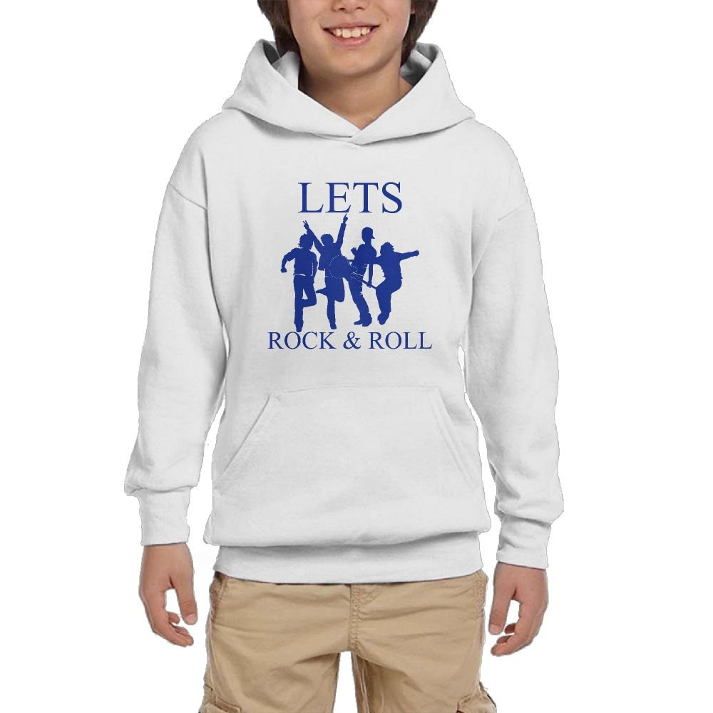 QTHOO Youth Long Sleeve Lets Rock & Roll Lightweight Hoodie With Pocket by QTHOO
