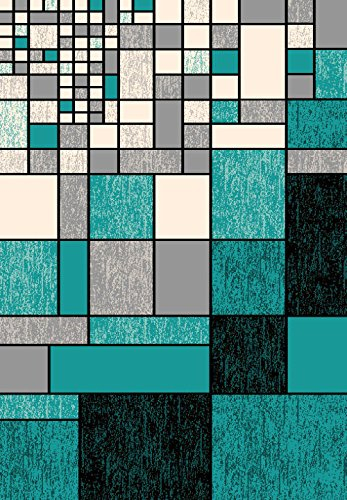 (BELLA Modern Contemporary 5x7 Colorful Luxury Rug for Bedroom, Living Room, Dining Room Abstract Area Colorful Luxury Rug for Bedroom, Living Room, Dining Room Carpet 40122 Turquoise Blue)