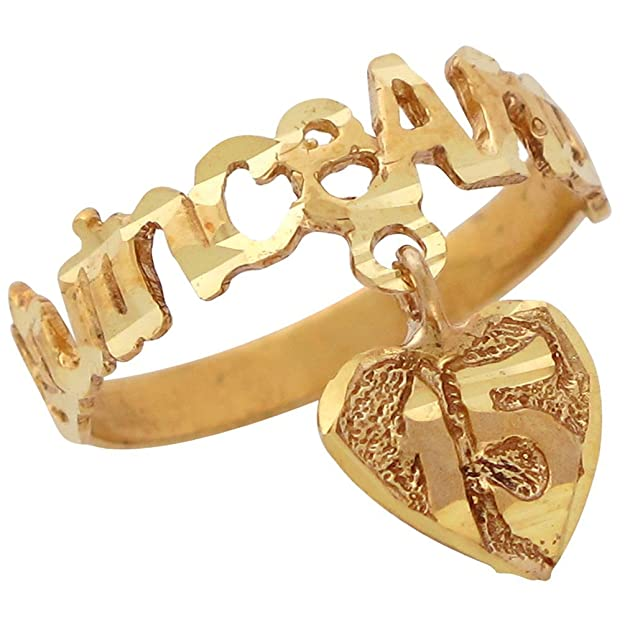 14k Yellow Gold Diamond Cut Quince Anos Ring with Dangling Heart Charm