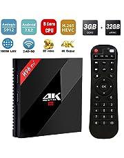 SINUK H96 PRO Plus Android 7.1 Smart TV Box 3 GB RAM + 32 GB Rom Amlogic S912 Octa-Core 4K Ultra HD Set-Top Box, Supporto 2.4G 5G Dual WiFi 1000 M LAN Bluetooth 4.1 HDMI 2.0 Media Player per Home