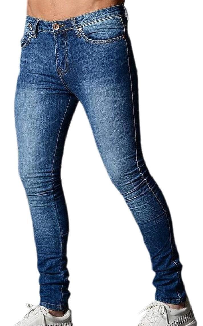 Yayu Mens Whitening Distressed Leotard Top Elastic Mid Waisted Jeans Denim Pants