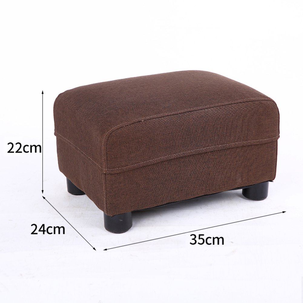 Solid wood Small stool Living room Household Small bench Sofa Changing shoes stool Fabric Stool Tatami mats Stool [child] Small stool-Brown