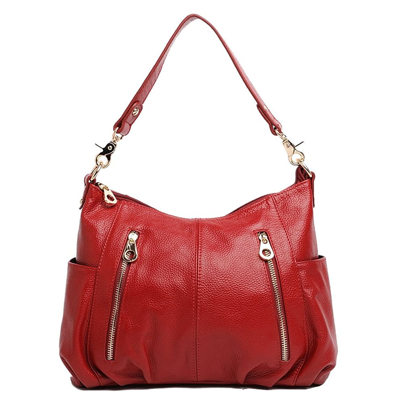 Dethan Women's Soft Genuine Leather Double Front Zipper Cross Body Shoulder Bag