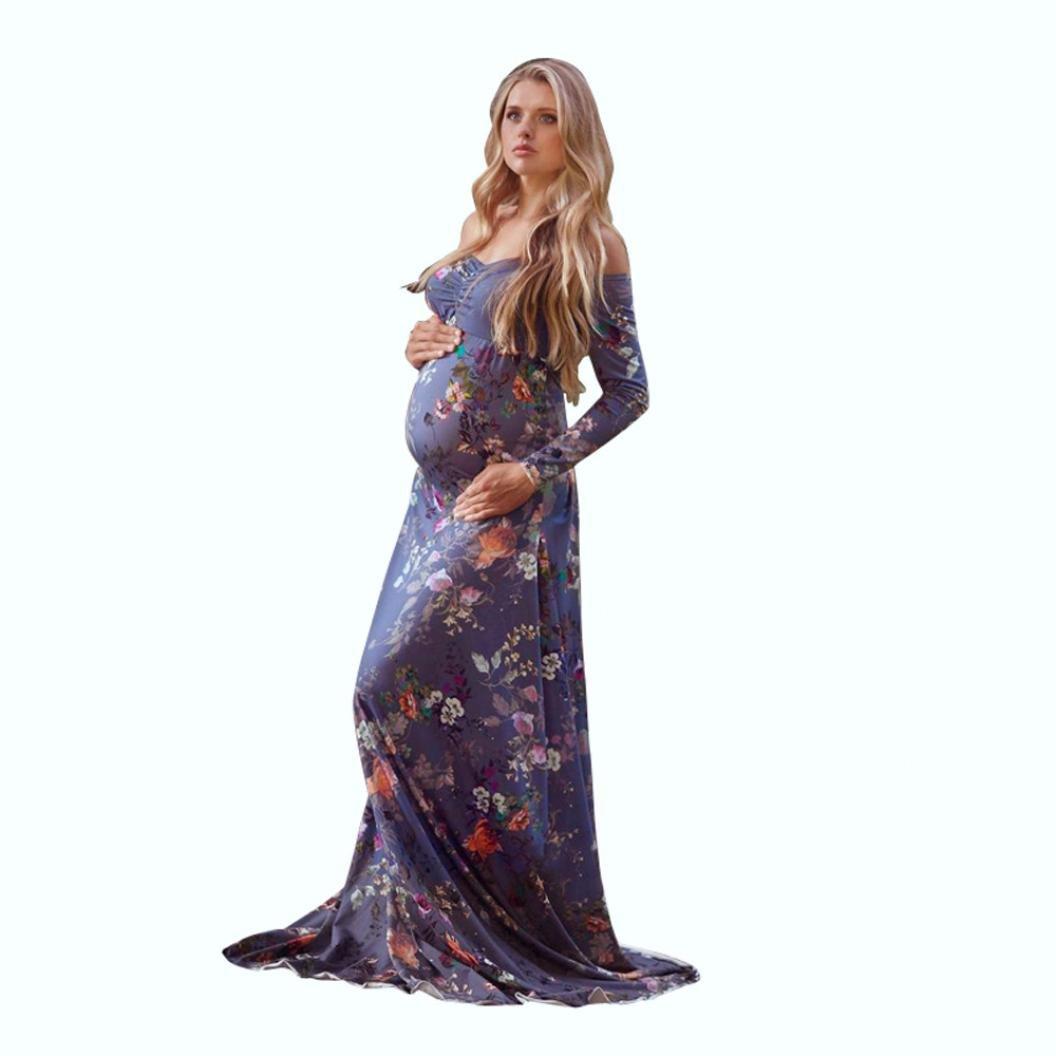 Photography Maternity Dress Daoroka Women Sexy Off Shoulder Floral Slash Neck Bohemian Long Sleeve Photo Prop Gown Long Maxi Skirt (S, Purple)