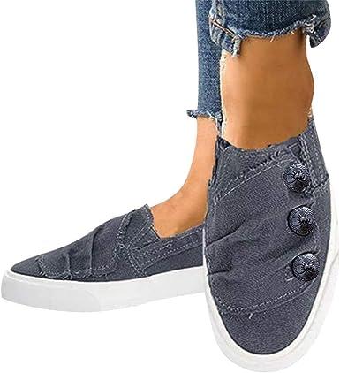Women Shoes Flats Denim Jeans Button