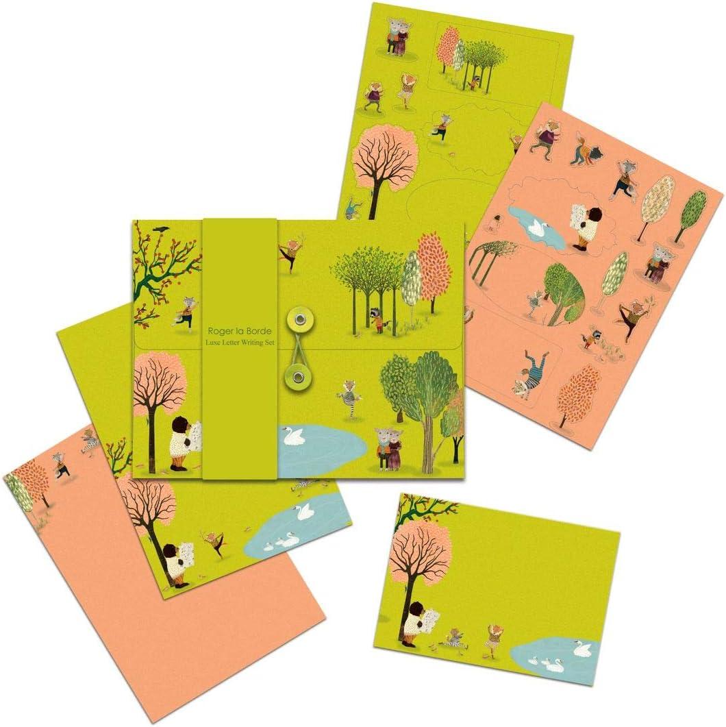 Roger la Borde Briefpapier-Set 10xA5 B/ögen Umschl/äge 2xA5 B/ögen Sticker je 2 Motive Yoga Park