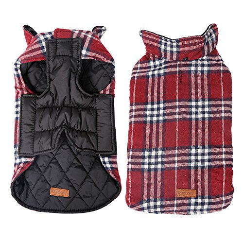 Kimfoxes Pet Dog Jacket Vest Windproof Garment Waterproof Snowproof Clothing Waistcoat Winter Warm Clothes Reversible British Style Grid Plaid Dog Coat for Medium Large Dogs(Red 3XL)