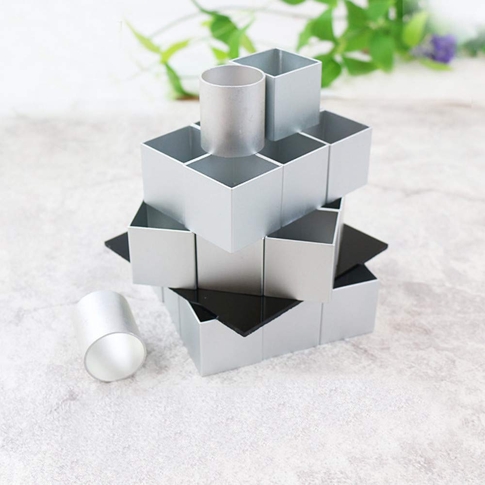 Amaping 3D Metal Cube Cake Mold Three-layer Rotation Mousse Cake Dessert Bake Mold Tool (Silver, DIY Baking Tool) by Amaping (Image #7)