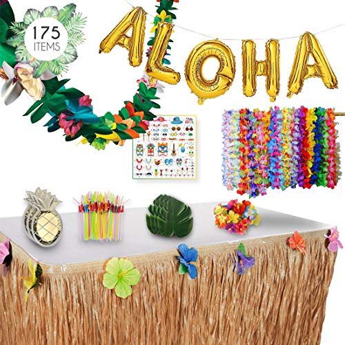 Luau Party Decorations Complete Set - 175 Items - Ultimate Essential Hawaiian Summer Party Tropical Themed Supplies Pack. By Illusive Supplies