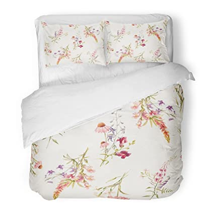 decorative mattress cover modern sanchic duvet cover set watercolor floral pattern delicate flower summer snapdragon echinacea lupine wild pink and amazoncom