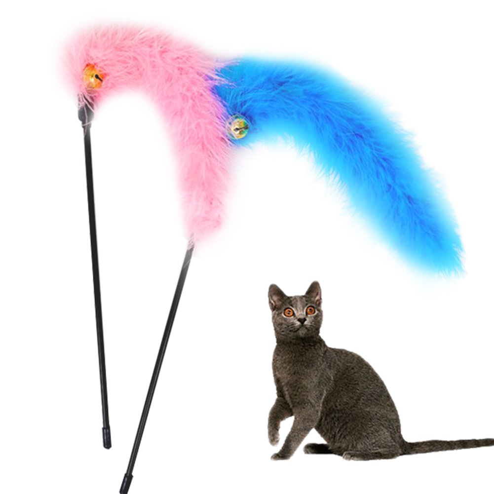 2xToruiwa Artificial Feather Teaser Interactive Stick Toy with Bell for Cat Kitten Cats Interactive Toys Random Color